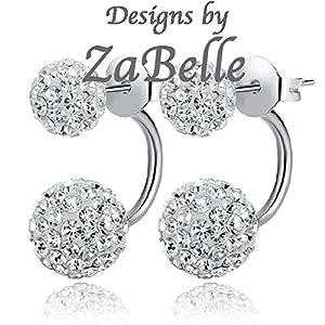 Shamballa Double Disco Hoop Ball Stud Earrings - Can be worn 2 ways - Like 2 sets