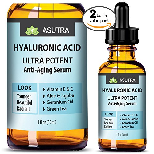2 Bottle Value Pack - HYALURONIC ACID Anti Aging Serum - ULTRA HYDRATING & EFFECTIVE / With Vitamin E & C, Geranium Oil, Green Tea Extract, Aloe & Jojoba + FREE E-Book (Green Vitamins Tea)