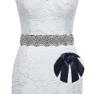 Sisjuly Luxury Handmade Crystal Rhinestone Wedding Sash Belt for Prom Evening Dresses
