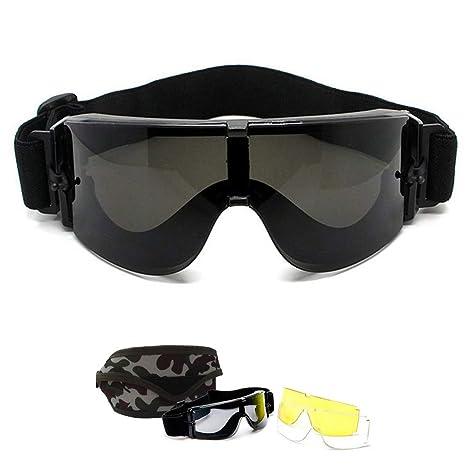 Gafas tácticas militares X800, gafas protectoras de seguridad, a prueba de viento, protección UV-400, lentes intercambiables de 3 colores, para ...
