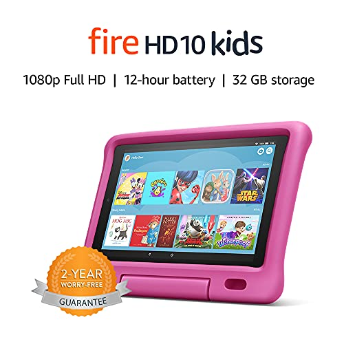 Fire HD 10 Kids tablet   for ages 3-7   10.1″ 1080p Full HD Display, 32 GB, Pink Kid-Proof Case (Previous Generation – 9th)