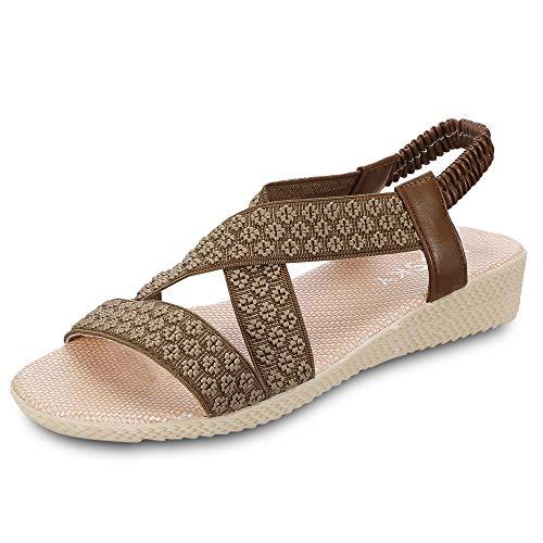 KCatsy Summer Women Low Heel Open-Toe Shoes Flat Elastic Band Girl's Sandals Brown