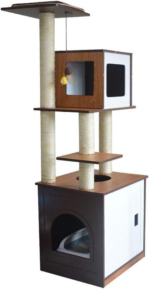 DAYUMAOJIN ソリッドウッドクライミングフレーム広々とした猫の巣暖かく快適な多層ジャンピングプラットフォーム面白い猫のおもちゃサイザルの柱チーク色猫の木