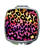 Colorful Watercolor Grungy Leopard Animal Print - Compact Square Makeup/Face Mirror
