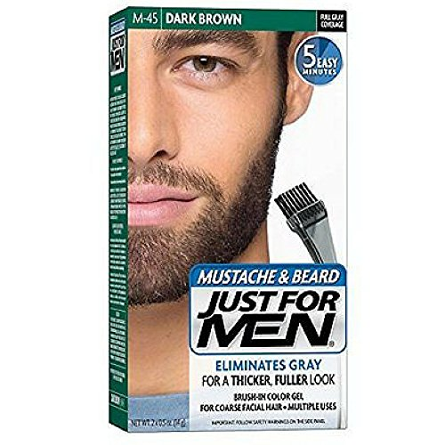 JUST FOR MEN Color Gel Mustache & Beard M-45, Dark Brown 1 Each