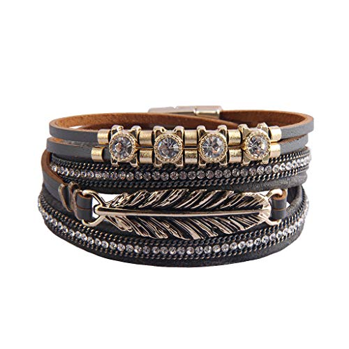 Jenia Casual Leather Wrap Bracelets Feather Cuff