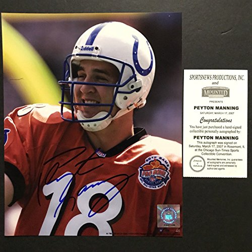 Autographed/Signed Peyton Manning Indianapolis Colts 8x10 Photo Mounted Memories MM COA - Signed Peyton Manning Photograph