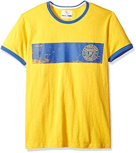 (U.S. Polo Assn. Men's Short Sleeve Crew Neck Print T-Shirt, Lemon Crepe Fkld, L)