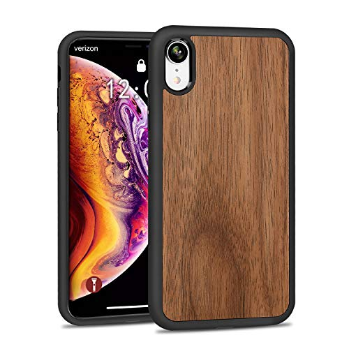 (JUBECO for iPhone XR Wood Case, Wooden Slim Anti-Shock Shockproof Cover for iPhone xr 6.1 (Walnut))