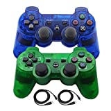 Bowink 2 Packs Wireless Bluetooth Controllers For PS3 Double Shock (Clear Blue and Clear Green)