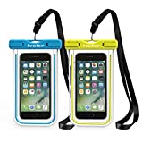 iVoler Waterproof Phone Case, [2 Pack] IPX8 Fluorescent Design Universal Waterproof Pouch Dry Bag for Ourdoor Sports Compatible for iPhone, Samsung and Other 6.2' or Smaller Devices (Blue + Green)