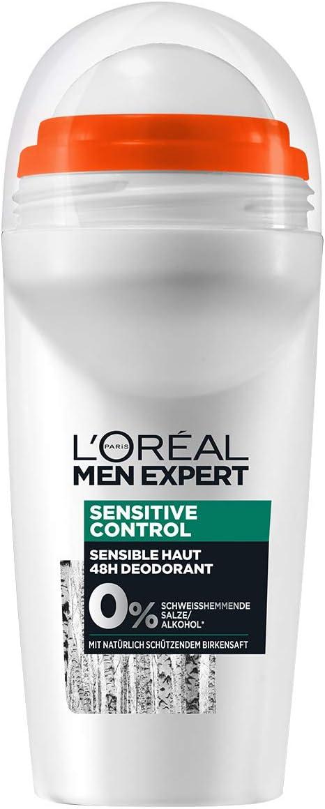 Desodorante LOréal Men Expert Sensitive Control Deodorant, 48H sin sales de aluminio, proporciona una frescura revitalizante y duradera (6 x 50 ml).: Amazon.es: Belleza
