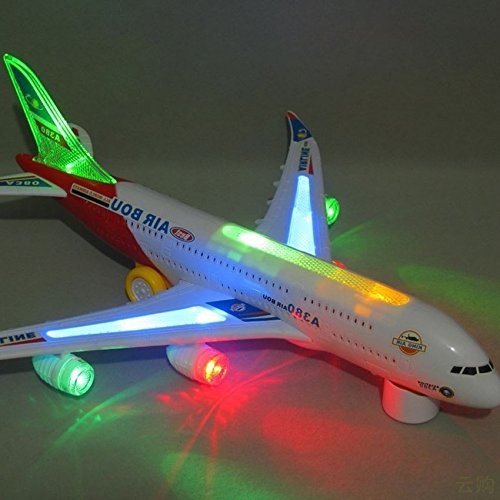 Eonkoo Bump And Go Electric Airplane Toy Airbus A380 Kids Action Aircraft Big Model Plane With Attractive 3D Colorful Lights And Sounds Changes Direction On Contact Best Gift For Kids Age 3 And (Where To Buy Red Contacts)