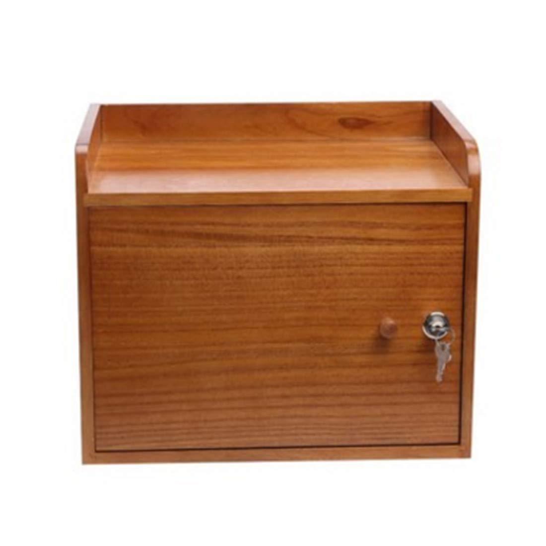 KERVINJESSIE Office Supplies Storage Box Desktop Solid Wood Collecting Cabinet with Lock File Information Case Rack (Color : Khaki)