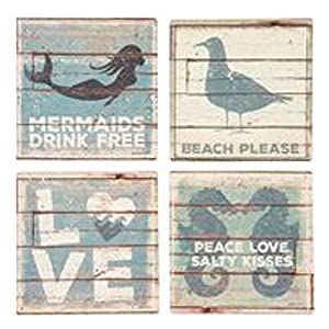 Carson Coaster Square 4 Piece Sandy Beach Home Decor