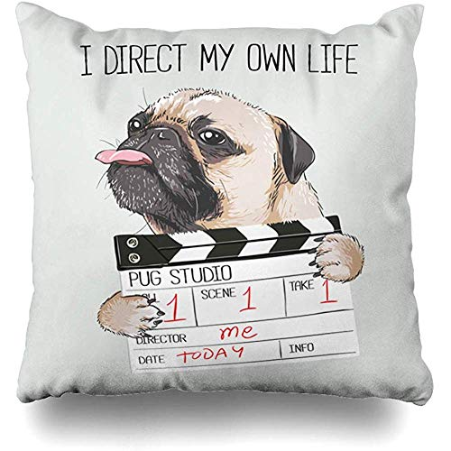 Throw Pillow Cover Funny Pug Director Slate Youth Dog Quote Graphic Boy Character Design Home Decor Pillowcase Square 18 x 18 Inch Zippered Cushion Case ()