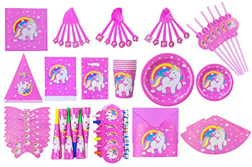 Unicorn Party Supplies Set with Decorations | Exclusive Magical Rainbow Unicorn Design | Invitations with Envelopes | Complete Party Kit