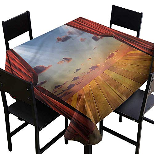 Musical Theatre Washable Square Tablecloth Stage with Drapes It's Good to be Home Gorgeous High End Quality 54 x 54 -