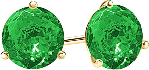 1 Carat Total Weight Emerald Solitaire Stud Earrings Pair 18K Yellow Gold Popular Premium Collection 3 Prong Push - Earings Yellow Gold Emerald