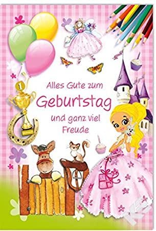 Tarjeta cumpleaños infantil Princesa Hada Candado caballo ...