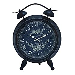 Benzara Table Clock with White Intricate Design and Roman Numerals