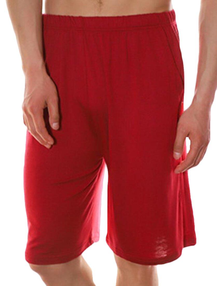 JXG-Men Sport Solid Shorts Sleep Lounge Shorts Pajama Bottom Pants Red US L