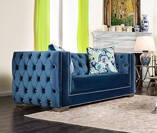 Furniture of America Reginald Modern Victorian Tufted Love Seat, Dark Blue