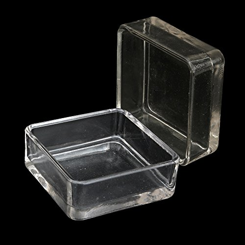 Senzeal 2x Aquarium Glass Shrimp Feeding Dish Reptiles Water Food Feeder Bowl Square (Bowl Fish Glass Square)