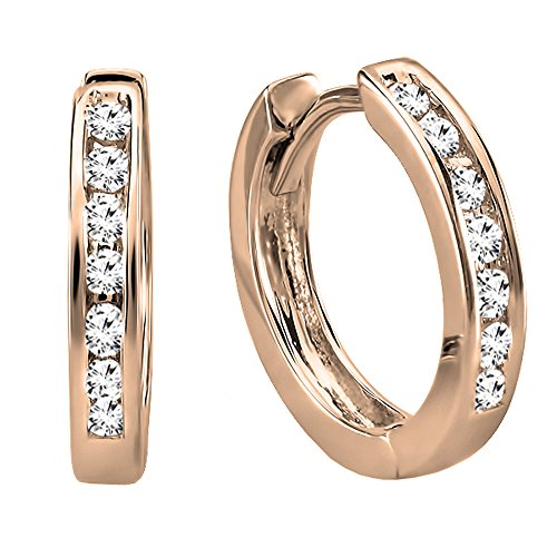 - Dazzlingrock Collection 14K Small Round White Diamond Huggie Hoop Earrings, Rose Gold