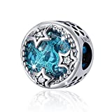 BAMOER Sterling Silver Radiant Twinkle Blue Stars Clear CZ Charm Bead for Bracelet Accessories