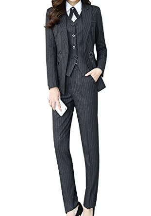 28ed45d7ecb Amazon.com: Women's Three Pieces Office Lady Stripe Blazer Business Suit  Set Women Suits Work Skirt/Pant,Vest Jacket: Clothing