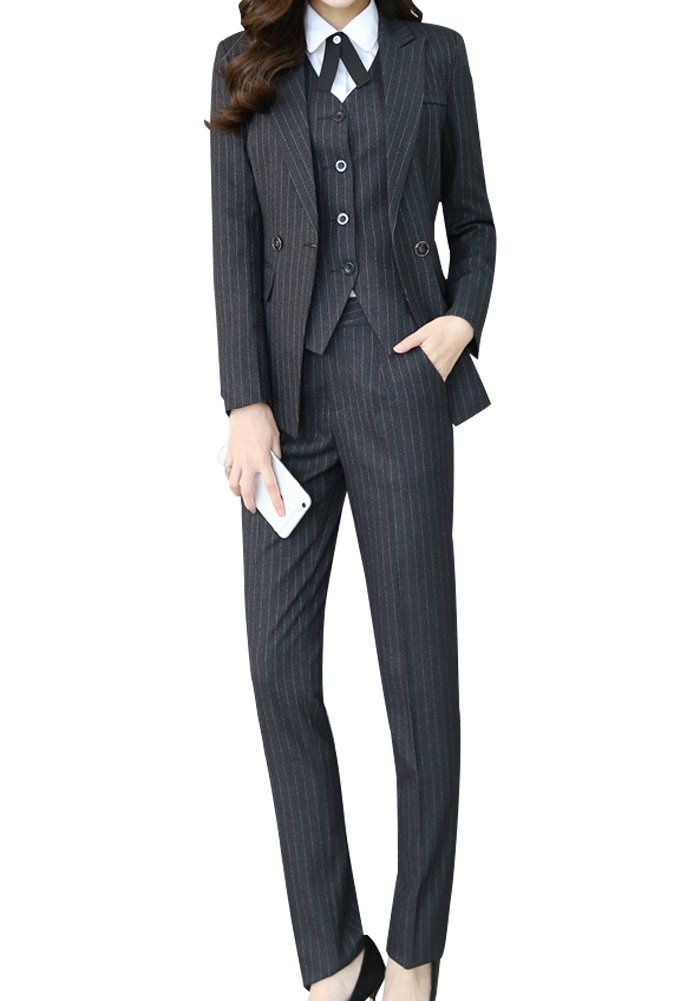 Women's There Piece Office Lady Stripe Blazer Business Suit Set Women Suits for Work Skirt and Jacket (Black, 2XL)