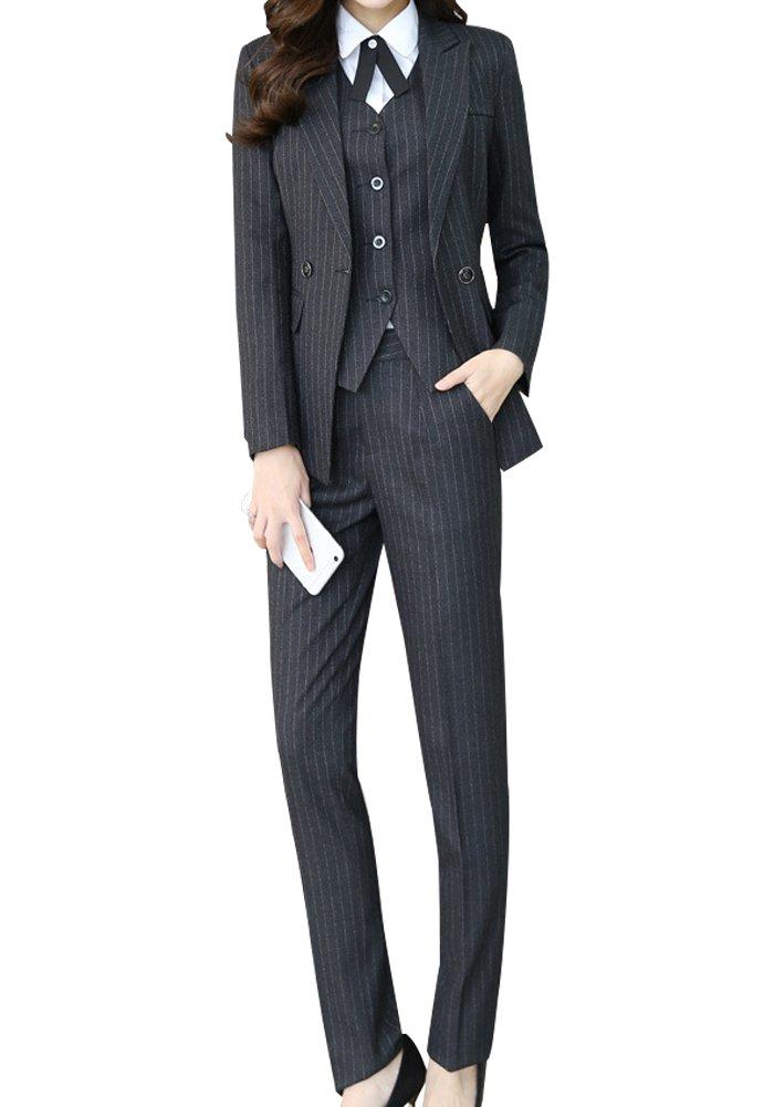 Women's Three Pieces Office Lady Stripe Blazer Business Suit Set Women Suits Work Skirt/Pant,Vest Jacket Black