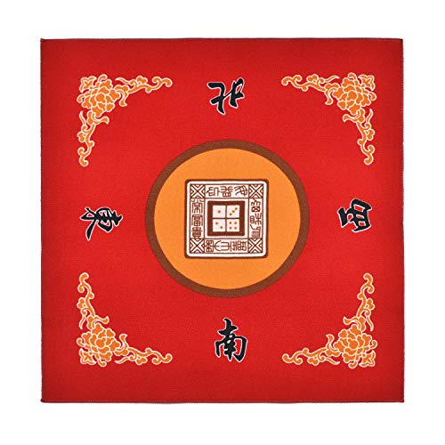 Sanvo Universal Mahjong/Paigow/Poker/Dominos/Game Table Cover,Slip Resistant Mat(Red) 31.5