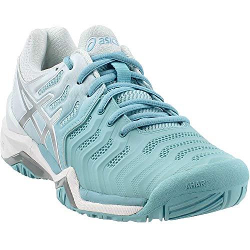 ASICS Womens Gel-Resolution 7 Sneaker, Porcelain Blue/Silver/White, Size 8
