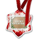Christmas Ornament Lucky Everyday St. Patrick's Day Retro Design, red - Neonblond