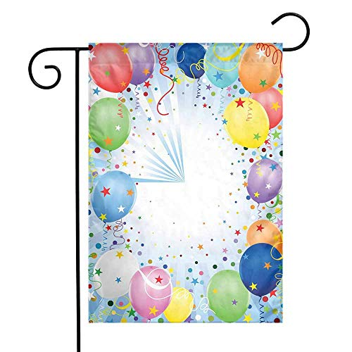 Mannwarehouse Kids Party Garden Flag Happy Celebration Event Theme with Colorful Flying Balloons Confetti and Stars Premium Material W12 x L18 Multicolor