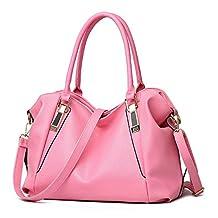 Bidear (TM) Zippered Soft PU Leather Top-handle Tote Shoulder Messenger Bag Cross Body Purse