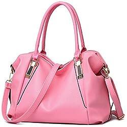 Bidear Soft PU Leather Satchel Tote Handbags and Purses Crossbody Bag for Women(Pink)