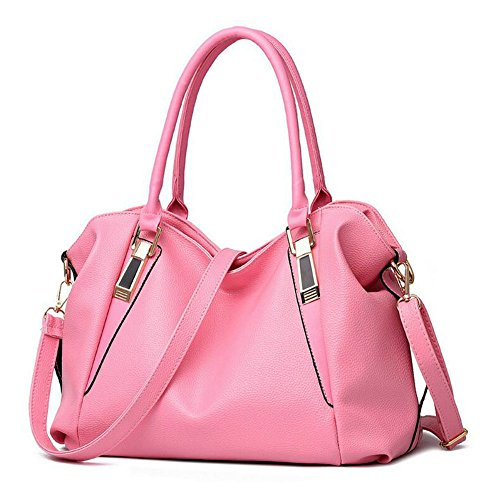 Pink Purses (Bidear Soft PU Leather Satchel Tote Handbags and Purses Crossbody Bag for Women(Pink))