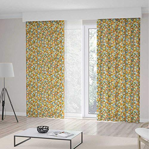 - iPrint Abstract Room Decor Curtains,Flower Life Design Vintage Colors Oval Shapes Lines Geometrical Retro Pattern Decorative,Living Room Bedroom Curtain 2 Panels Set,142 W 95 L,Multicolor