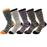 Tusong Womens 5 Pair Cotton Warm Winter Slouch Knit Socks, Boots Socks 5, One Size