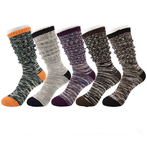 Tusong Womens 5 Pair Cotton Warm Winter Slouch Knit Socks, Boots Socks 5, One Size]()