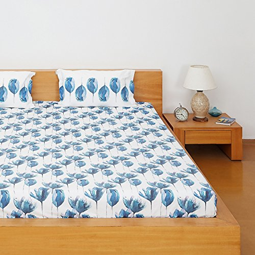 Solimo Tulip Twirl 144 TC 100% Cotton Double Bedsheet with 2 Complimentary Pillow Covers – Blue