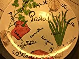 USA hand painted large Pasta spaghetti serving bowl with vegetable and types of pasta painted on bowl