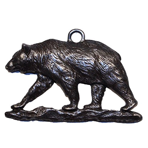 Grizzly Bear Ornament - Gorgeous Grizzly Bear Walking Christmas Ornament Medallion Hanging Charm Key Eric Thorsen Montana