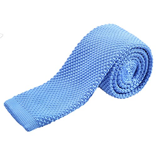 Smart Casual Men's 2 inches Skinny Knit Tie Necktie for Groom, Light - Knit Blue Tie