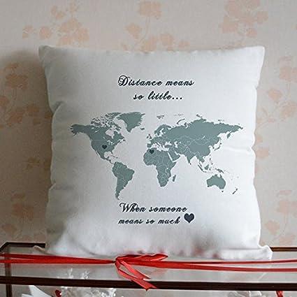 GOODcake World - Funda de almohada, diseño de mapamundi personalizado, regalo de larga distancia