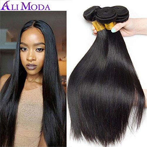 - Ali Moda 8A Silky Straight Hair 3 Bundles 100% Unprocessed Malaysian Human Virgin Hair Weave Extensions Natural Color (16 18 20)
