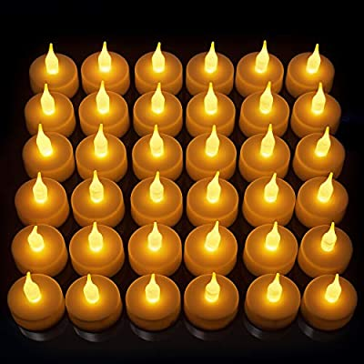 LED Candles, Lasts 2X Longer, Realistic Tea Light Candles, Flameless Candles to Create a Warm Ambiance, Naturally Flickering Bright Tealights,Battery Powered Candles,Unscented, Batteries Included (36)